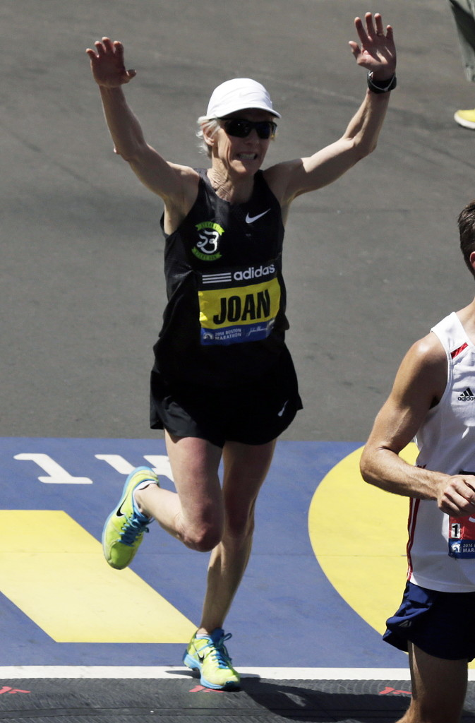With her 58th birthday coming in May, former Boston Marathon and Olympic marathon winner Joan Benoit Samuelson hopes to run 2:57 or better this year, with an ultimate goal of finishing within 30 minutes of her PR – 2:21.21. 2014 File Photo/The Associated Press