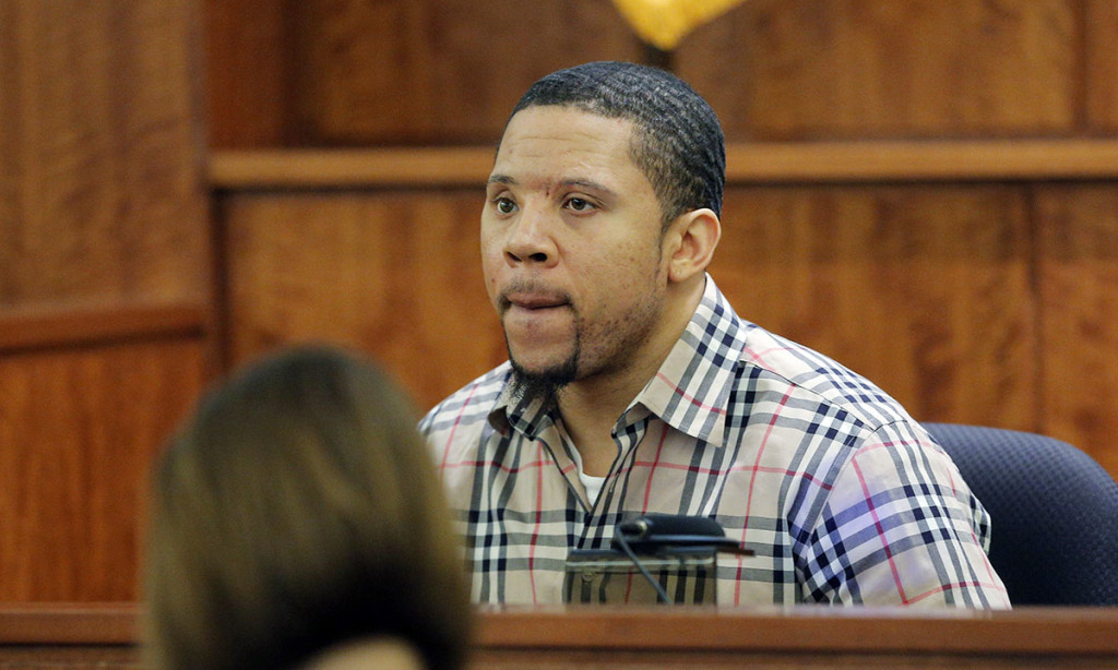 Prosecution witness Alexander Bradley is questioned by the prosecution without the jury present during Aaron Hernandez's murder trial. Without the jury present, Bradley said  Hernandez often said helicopters and police were following him, but the judge ruled that Bradley could not testify about that. The Associated Press