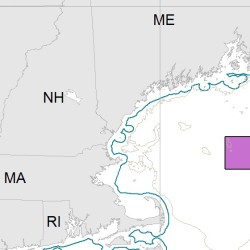 NOAA map of Cashes Ledge closure area in the Gulf of Maine.