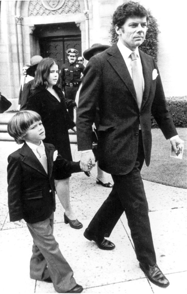 Gordon Getty with son Andrew leave the Wilshire United Methodist church after memorial services for J. Paul Getty, in Los Angeles, in this  June 10, 1976, photo.