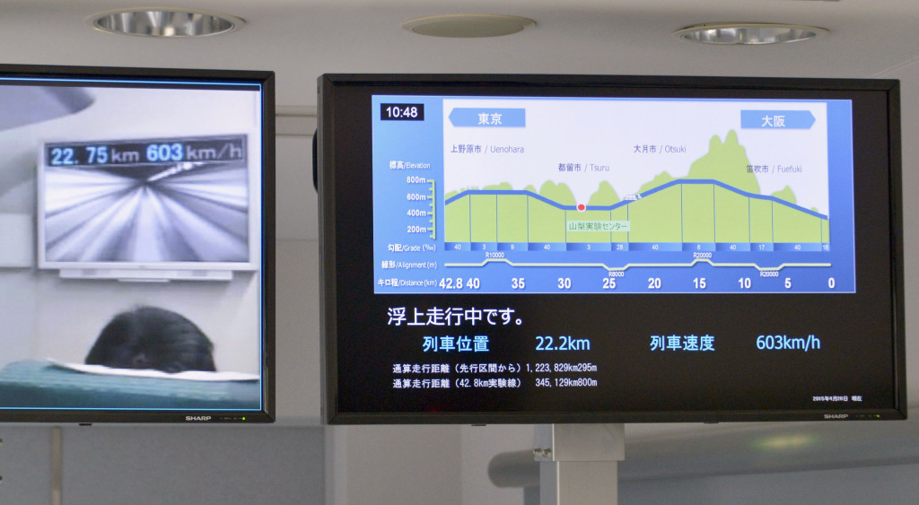 Monitors at the Maglev Test Line Center show the a train breaking its own speed record by reaching 375 miles per hour. The Associated Press / Kyodo News, Katsuya Miyagawa