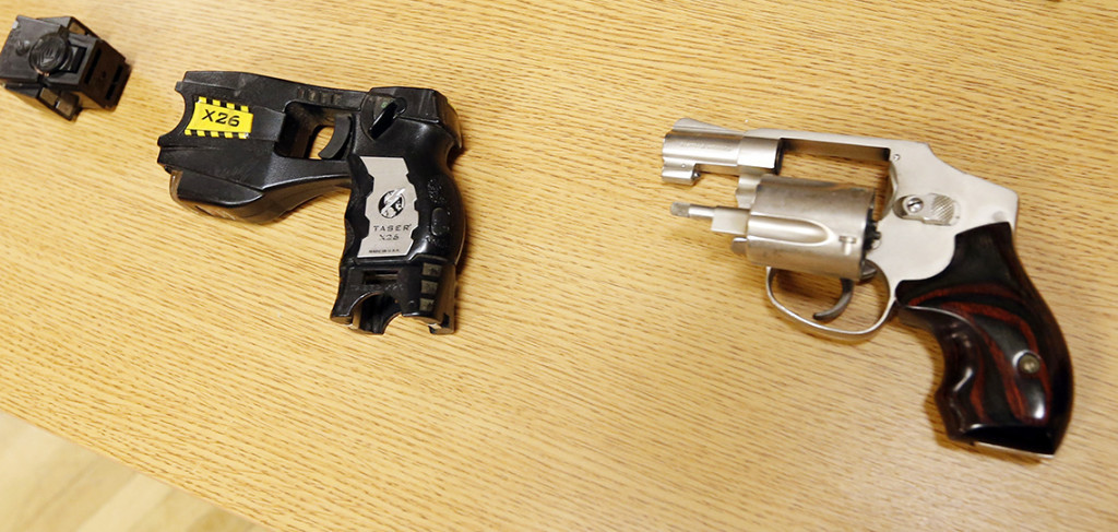 This Taser and handgun are similar to the weapons carried by Tulsa County reserve deputy Robert Bates when he fatally shot Eric Harris. The Associated Press