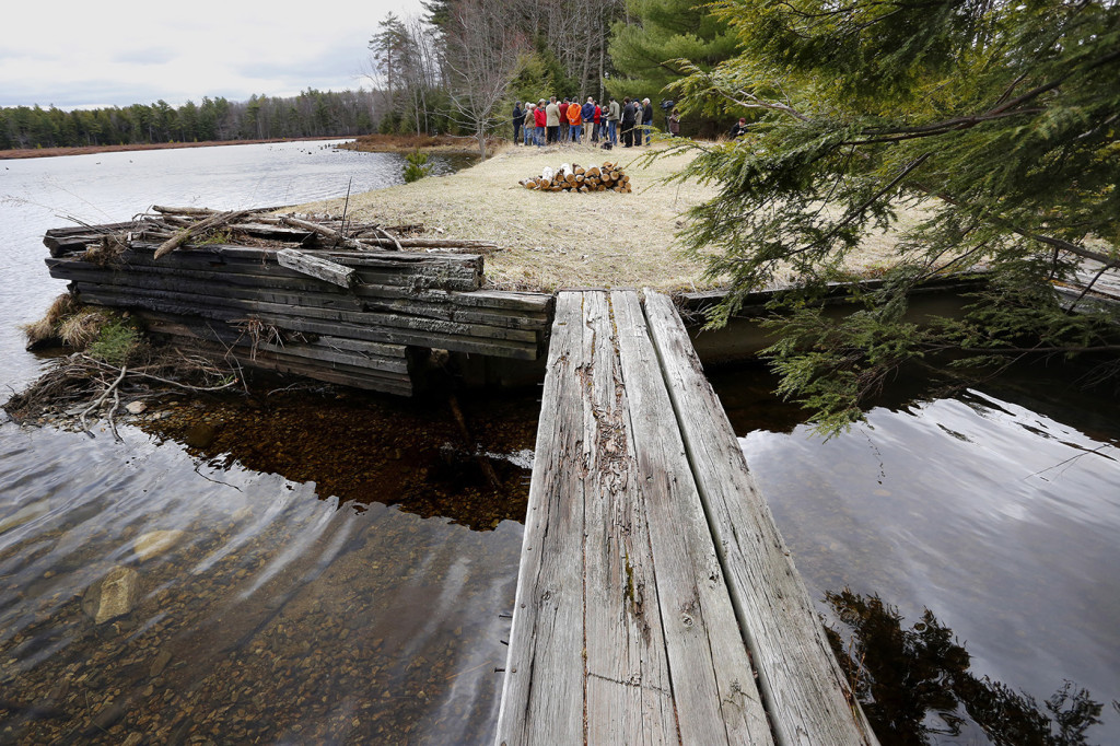 A group of concerned citizens and local officials hold a press conference at Knight's Pond and Blueberry Hill in Cumberland on Monday. Funding for their conservation initiative is one of dozens stalled by  Gov. Paul LePage, who has blocked the spending of $11.4 million in voter-approved bonds for the Land for Maine's Future program. Derek Davis/Staff Photographer