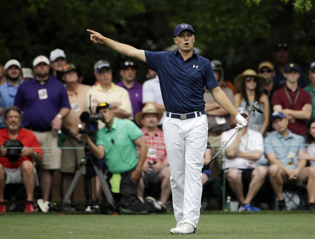 Jordan Spieth calls out his ball after teeing off the seventh hole during the fourth round of the Masters golf tournament Sunday. The Associated Press