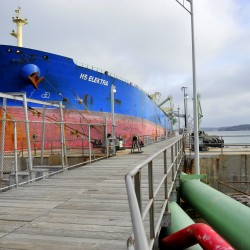 An oil tanker unloads cargo at the Portland Pipe Line terminal in South Portland. The company says in a federal lawsuit against the city that the Clear Skies ordinance interferes with interstate trade, discriminates against Canadian interests, devalues the pipeline and infringes on areas best left to the federal government. 2013 Press Herald File Photo/John Ewing