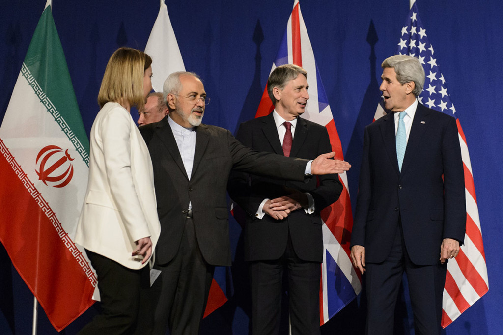 From left, EU High Representative for Foreign Affairs and Security Policy, Federica Mogherini, Iranian Foreign Minister, Mohammad Javad Zarif, British Foreign Secretary, Philip Hammond, and U.S. Secretary of State, John Kerry, line up for a press announcement after the end of a new round of nuclear Iran talks in in Lausanne, Switzerland, Thursday. The Associated Press