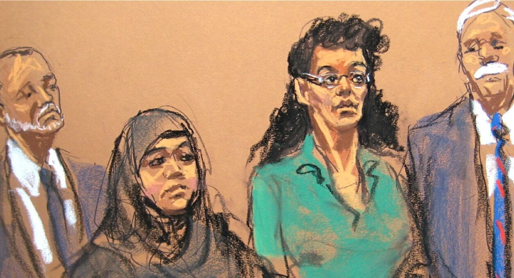 In this courtroom sketch, defendants Noelle Velentzas, left, and Asia Siddiqui  appear in federal court with their attorneys on Thursday,  in New York. The Associated Press / Sketch by  Jane Rosenberg