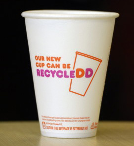 The new Dunkin' Donuts coffee cup.