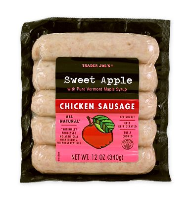 A 12-ounce package of Trader Joe's Fully Cooked All Natural Chicken Sweet Apple Sausages.