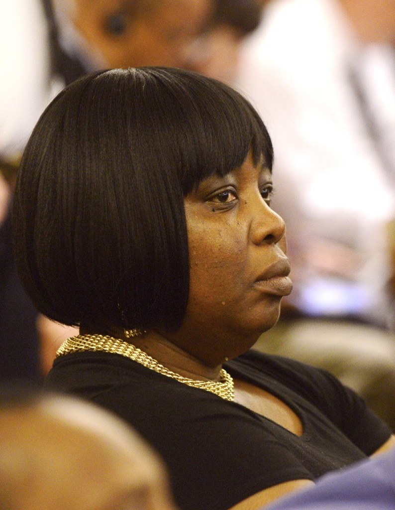 Ursula Ward, mother of Odin Lloyd, looks on during the trial of former New England Patriots football player Aaron Hernandez on Monday. The Associated Press