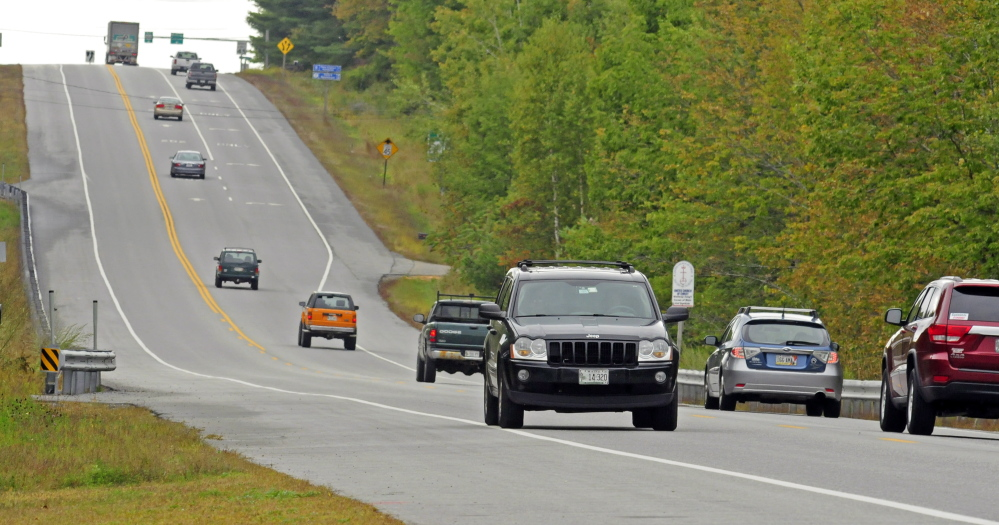 Vehicles drive U.S. Route 202 in this September 2014 file photo from Winthrop, where road work is planned for this summer between Winthrop and Lewiston.