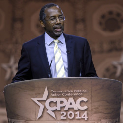 This March 8, 2014, file photo shows Dr. Ben Carson, professor emeritus at Johns Hopkins School of Medicine, speaking at the Conservative Political Action Conference annual meeting in National Harbor, Md.