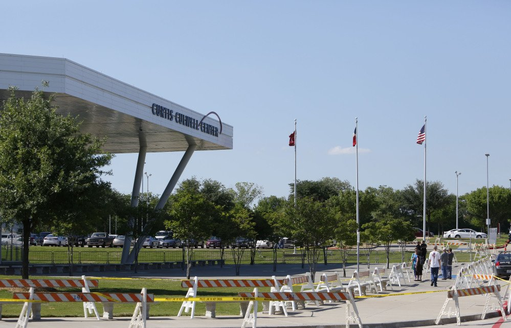 The outside of the Curtis Culwell Center is shown during the American Freedom Defense Initiative program on Sunday, in Garland, Texas.