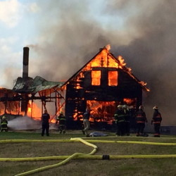 A late afternoon fire destroyed a home on Hole in the Wall Road in Solon Monday afternoon.