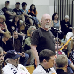 Harold Bigelow speaks in favor of keeping the use of the word Indian for SAD 54 sports teams. Bigelow and others spoke during a forum in Skowhegan on Monday.