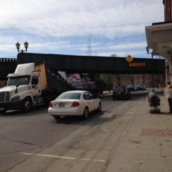 A tractor-trailer struck the railroad trestle on Water Street in Augusta Tuesday morning, backing up traffic.