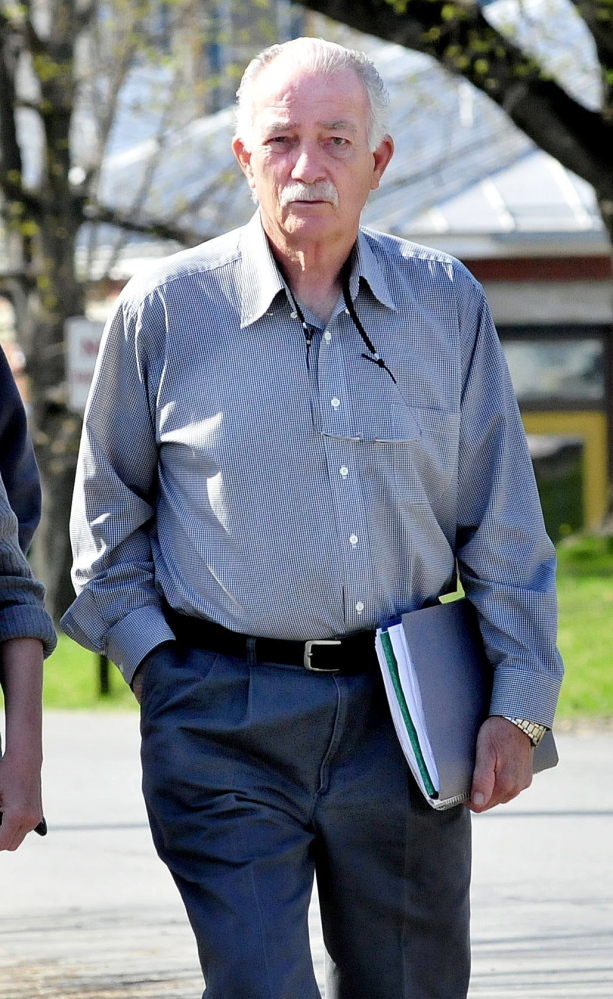 Louis Padula leaves the Skowhegan District court following a hearing on Wednesday. Padula has been charged with unlawful gambling, witness tampering and falsifying evidence relating to the Madison VFW.