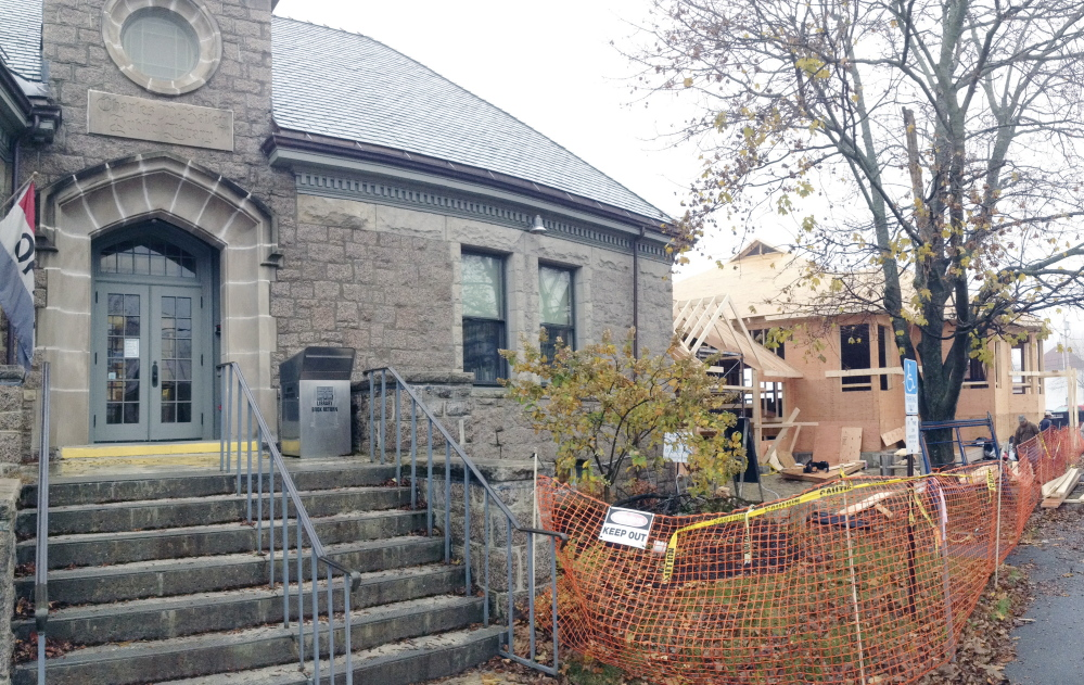 The new addition started taking shape next to Winthrop's Charles M. Bailey Public Library in November. The temporary library at the Winthrop Commerce Center will close Friday so its holdings and equipment can move back into the renovated Bailey building, which is scheduled to reopen in June.