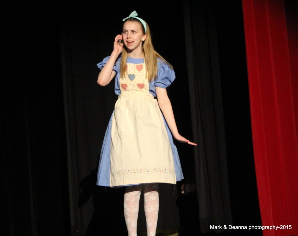 """CAP.cutline_standalone:Cony High Theatre will present """"Alice@Wonderland"""" an updated adaptation for all ages. See if Alice, Cony's Morgan Metcalf, can find a Starbucks to charge her phone and get out of Wonderland. The show is set for 7:30 p.m. Friday, May 8, and 2 p.m. Saturday, May 9, in the Cony Auditorium. Cost is $5 for adults and $3 for students, seniors and children. Tickets are available at the door or at Cony High School."""
