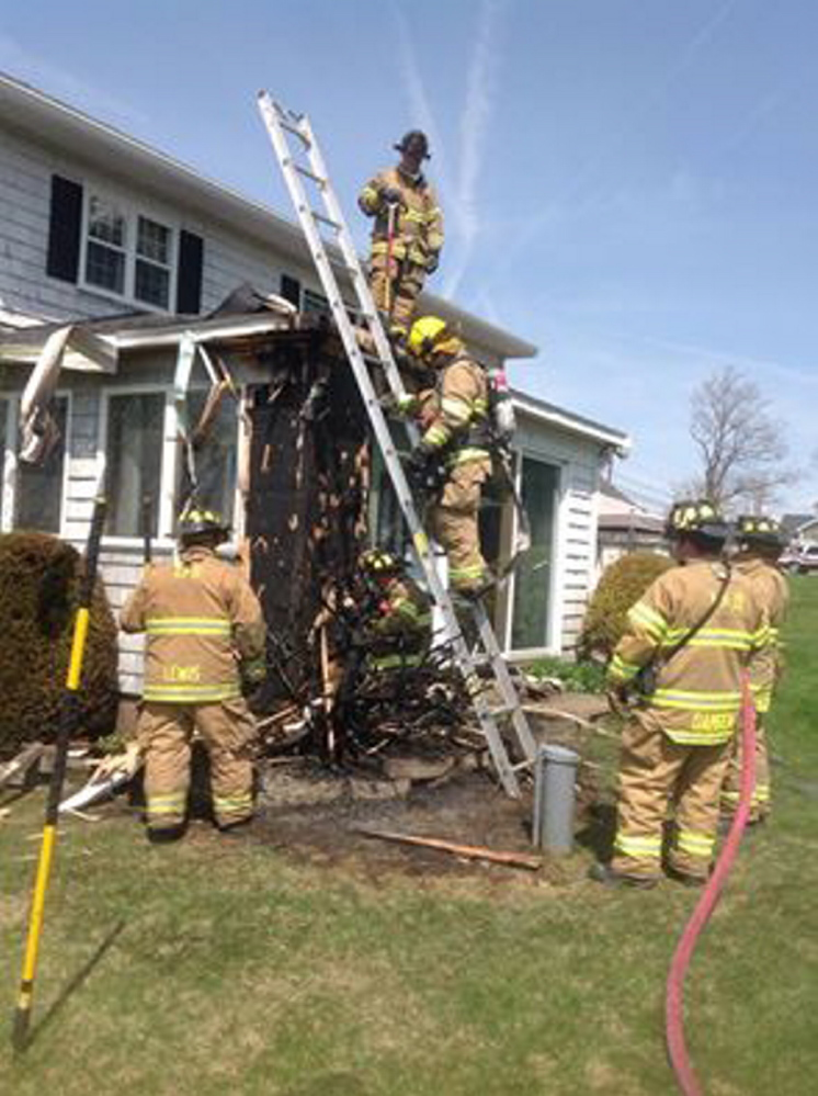 Augusta firefighters went to 2414 North Belfast Ave. on Thursday in response to a report of a brush fire that damaged an attached porch.