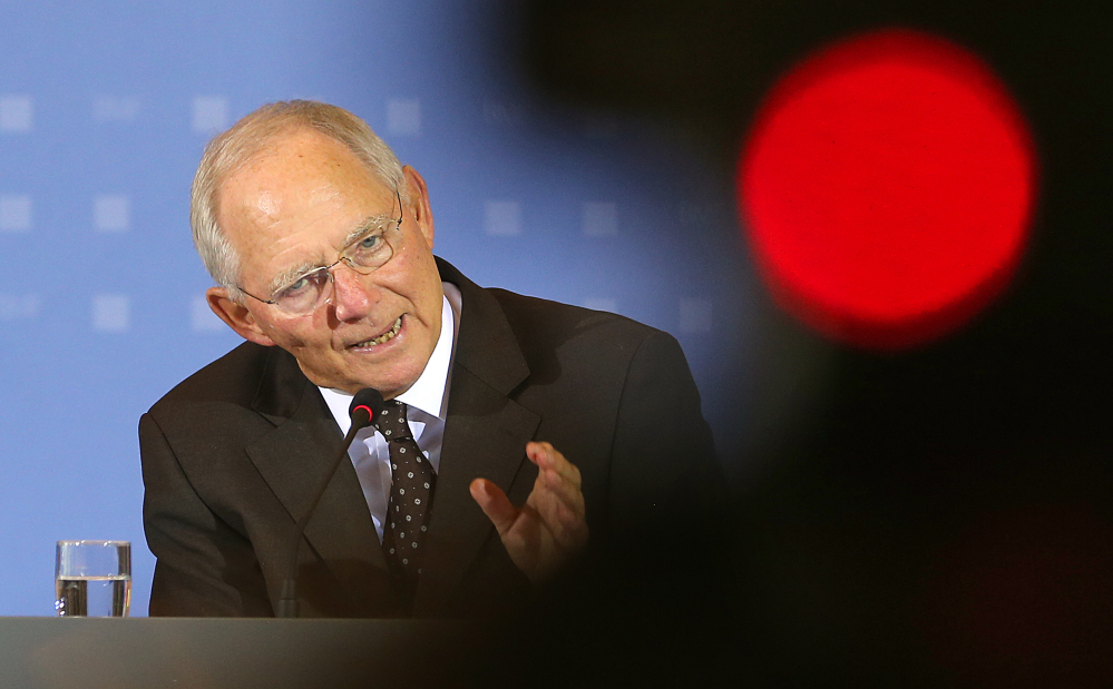 German Finance Minister Wolfgang Schaeuble speaks during a news conference in Berlin, on Thursday.