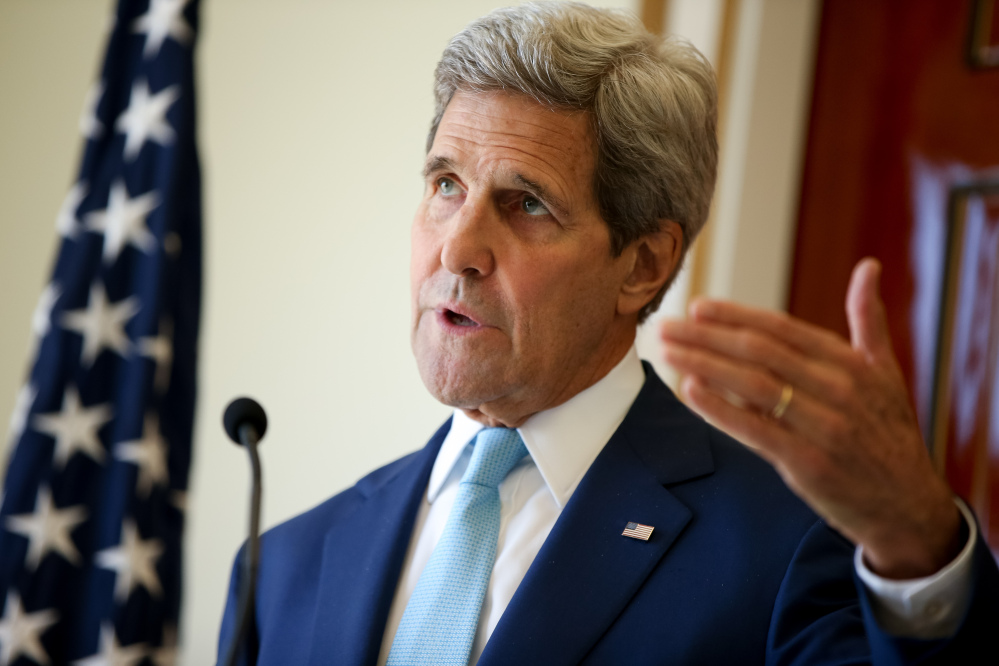 In this May 6 file photo, U.S. Secretary of State John Kerry speaks during a joint press conference with Foreign Minister Mahamoud Ali Youssouf at the Presidential Palace, in Dijbouti, Dijbouti.