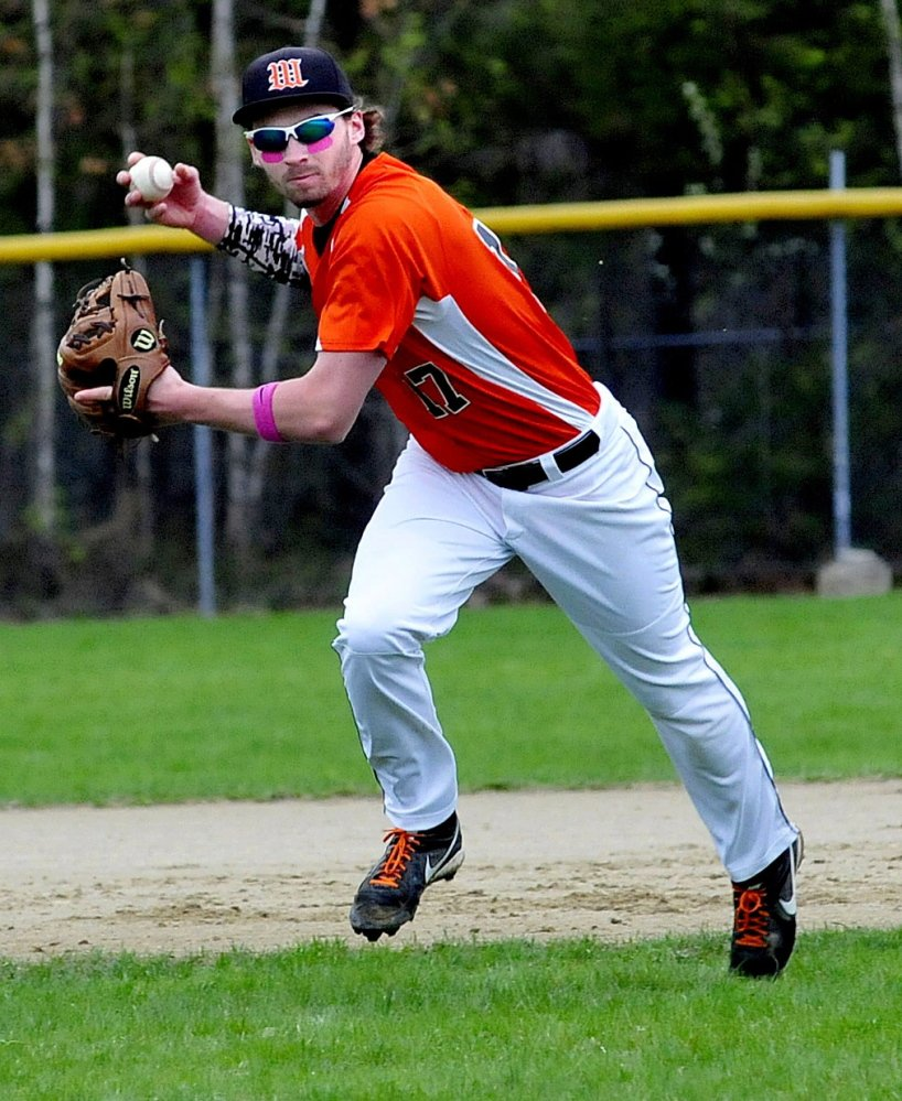 Winslow's Alex Berard fields the ball and throws to first base for an out against Oceanside in Winslow on Monday.