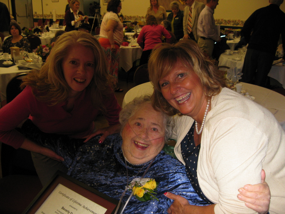 From left, are Robin Dimock of Madison, Beverly Durrell's granddaughter; Durrell; and Ann LePage.