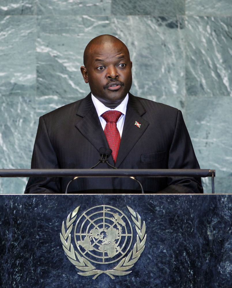 In this Friday, Sept. 23, 2011 file photo, Burundi's President Pierre Nkurunziza addresses the 66th session of the United Nations General Assembly at U.N. headquarters in New York.