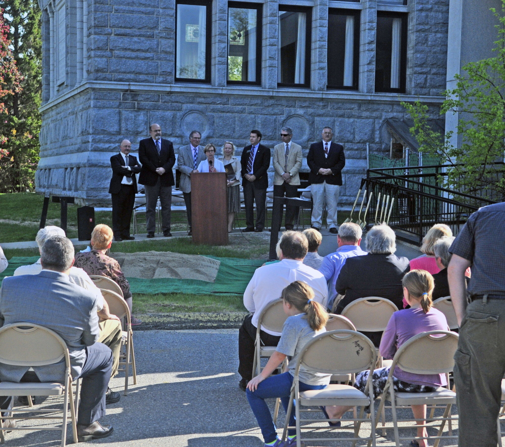 Lithgow Library director Betsy Pohl speaks on Thursday during groundbreaking for Lithgow Public Library expansion in Augusta.
