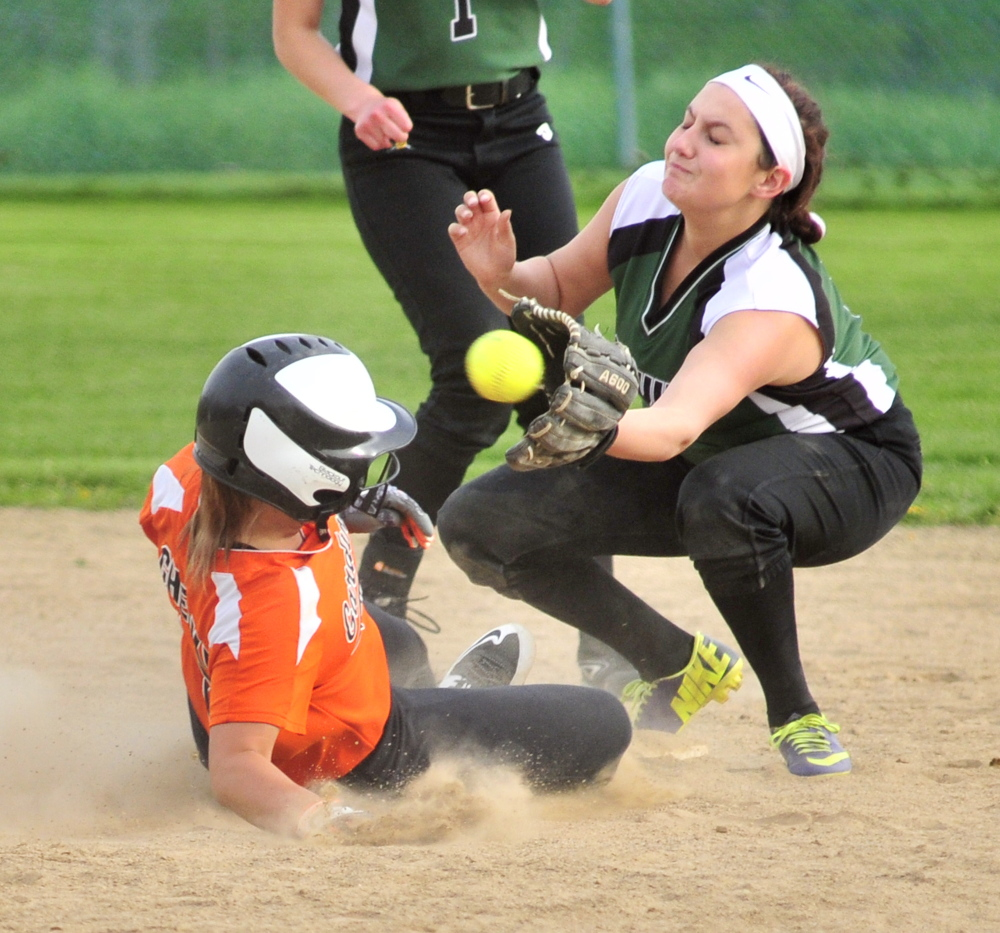 Gardiner baserunner Lilly Chepke beats the throw to Leavitt's Delanie Strout at second base during a game Friday at Somerville Field in Gardiner.