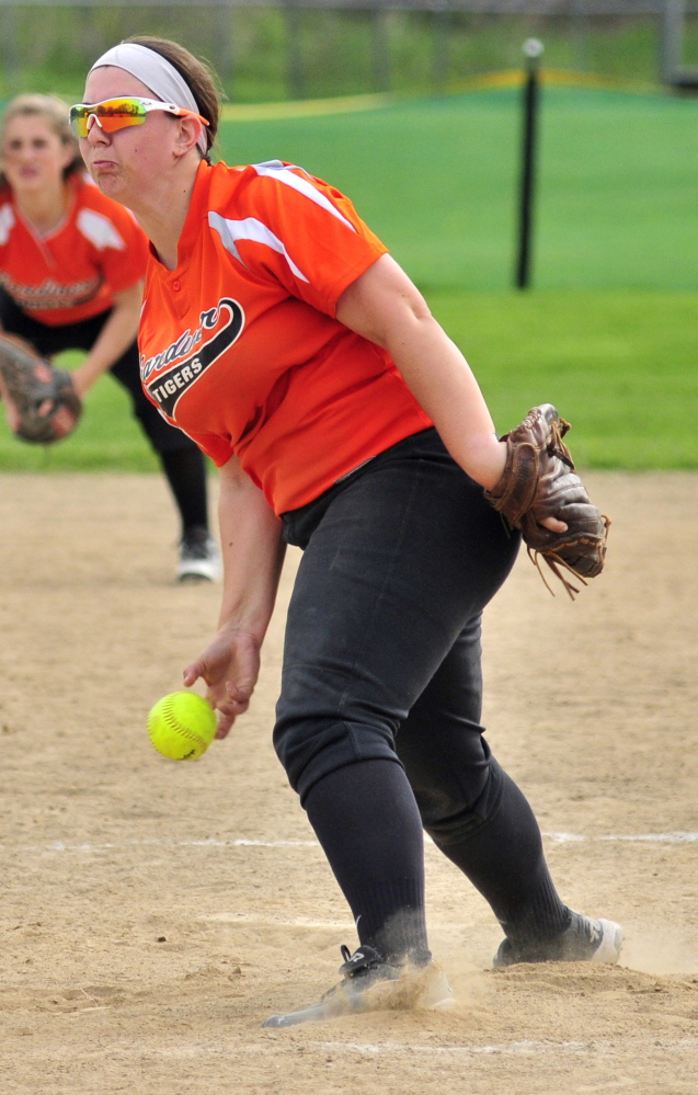 Gardiner pitcher Kristal Smith throws a pitch Friday during a game against Leavitt. Smith struck out nine and didn't walk a batter in a 6-0 Gardiner victory.