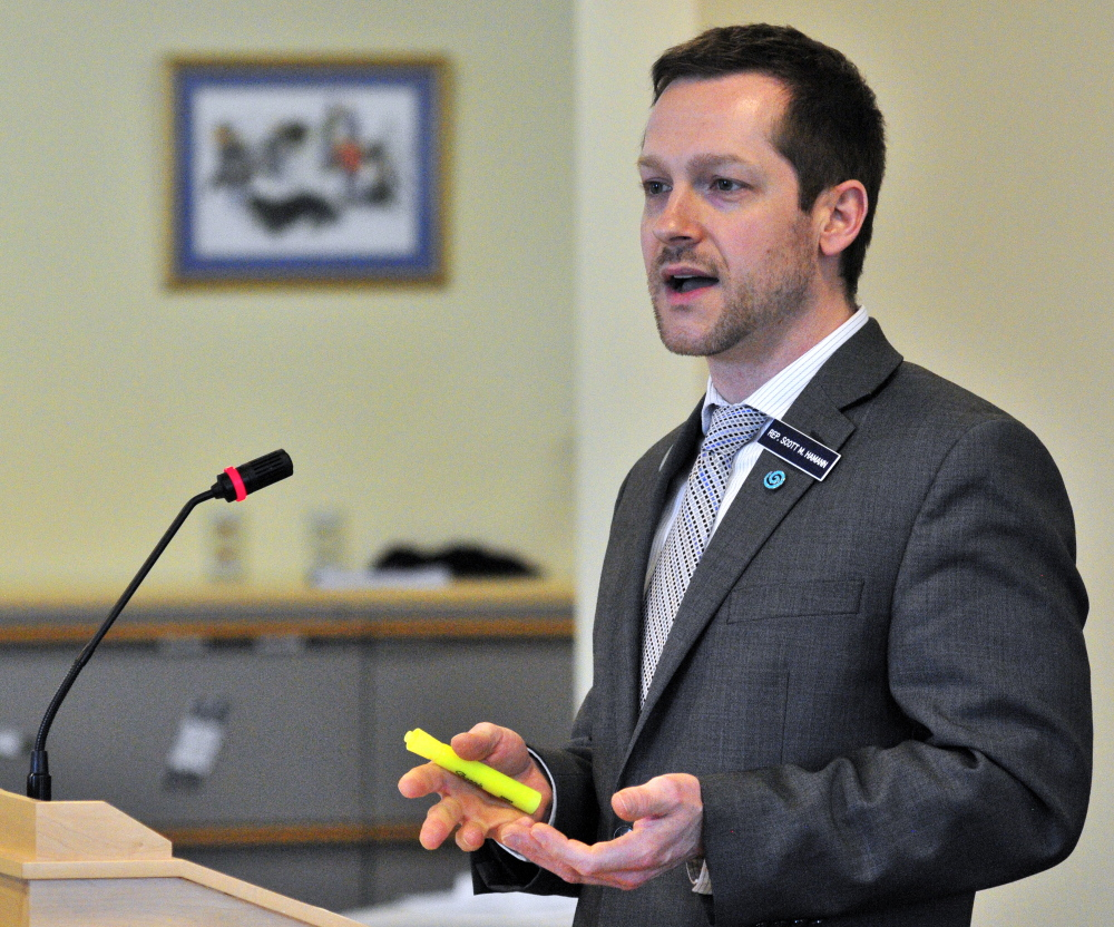 Rep. Scott Hamann, D-South Portland, introduces a bill addressing day care reimbursement rates for children in foster care on Friday before the Legislature's Health and Human Services Committee in Augusta.