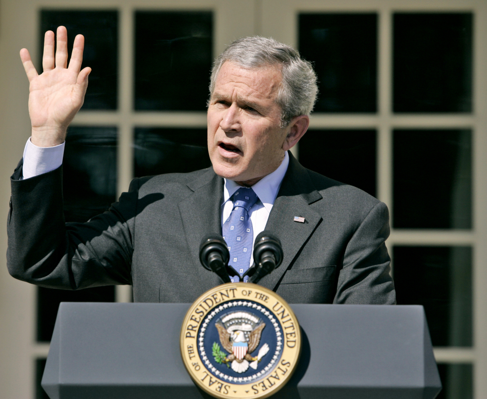 In this April 3, 2007 photo, President Bush speaks about the congressional debate on Iraq war spending, in Rose Garden of the White House in Washington. A dozen years later, American politics has finally reached a rough consensus about the Iraq War: It was a mistake.