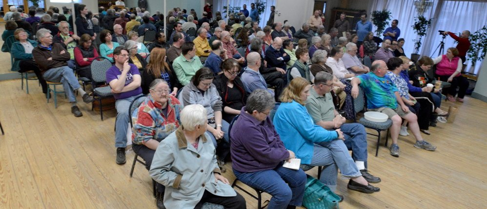 Members of the community filled The Forum at the Center during a pay-as-you-throw trash collection system hearing on April 15.