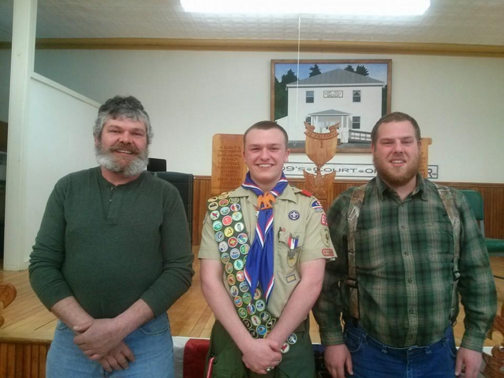From left, are Daniel Woodward of Hallowell Eagle Scout 1982, Ian Ferguson of Windsor Eagle Scout 2015, and Charles Ferguson III of Windsor Eagle Scout 2007.