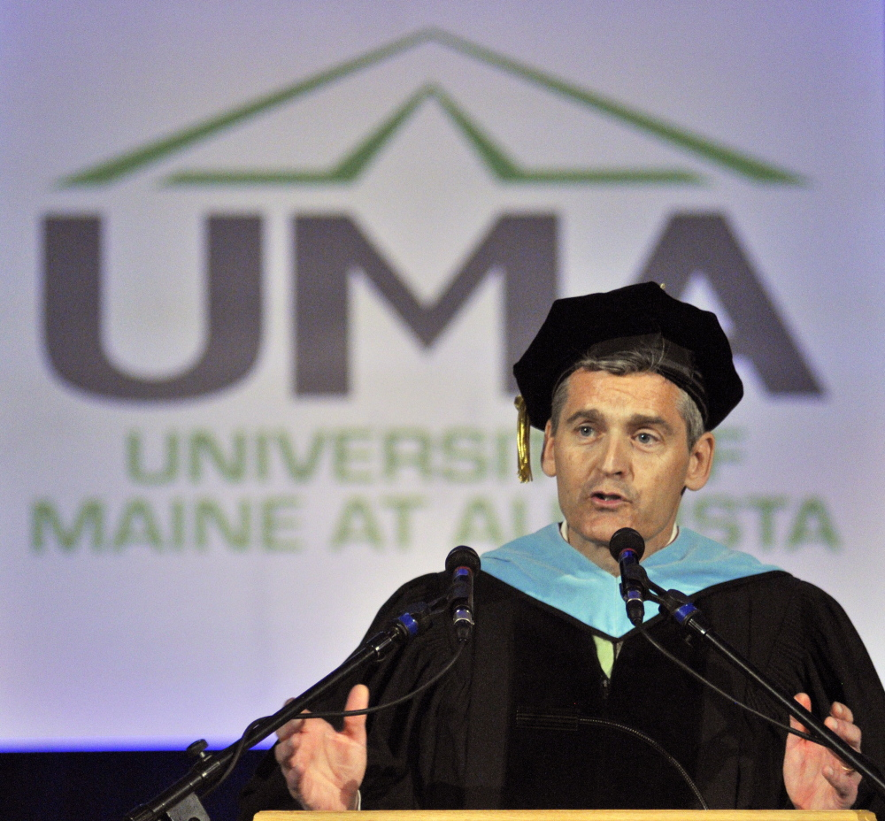 University of Maine at Augusta President Glenn Cummings, shown here at commencement ceremonies earlier this month, was appointed president of the University of Southern Maine on Wednesday.