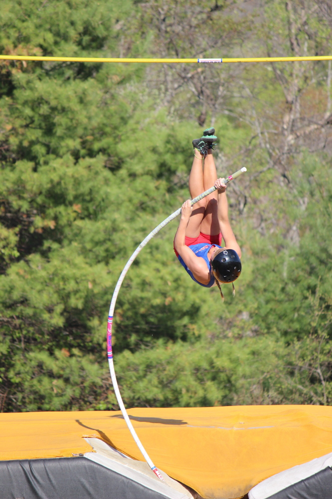 Messalonskee's Taylor Lenentine is one of the top pole vaulters in Kennebec Valley Athletic Conference Class A. Her gymnastics skills have aided her in track.