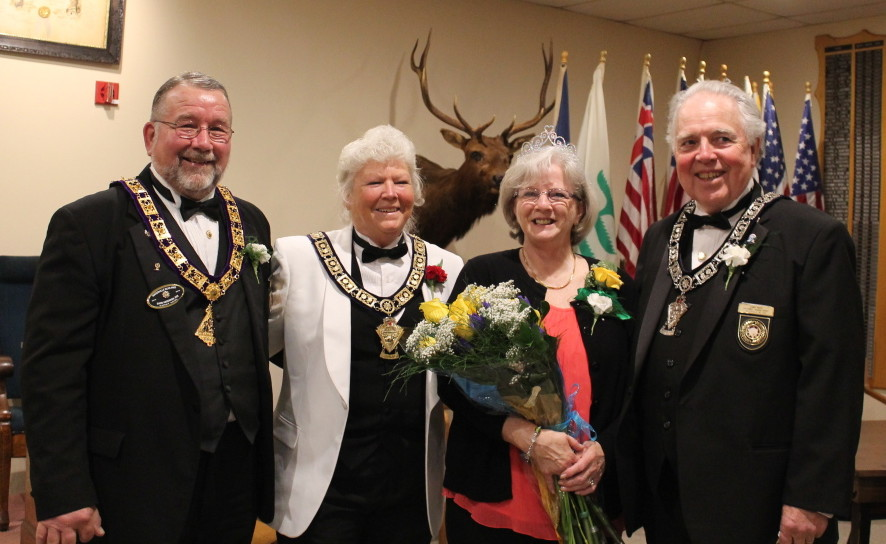 Karleen White, of Augusta, was presented the 2015 Waterville Elks Mother of the Year award by Exalted Ruler Sandi Anderson during the Waterville Elks Lodge 905 annual Mother's Day Brunch and Ceremony. From left, are David Anderson PER, Exalted Ruler Sandi Anderson, White and her husband, Lanny White.