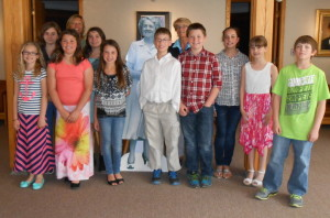 The Clinton Elementary School Student Council recently visited the Margaret Chase Smith Museum in Skowhegan to talk about their many service projects. The group was presented a check for a charity of their choice. Front, from left, are Hailie Hotham, Gabby Nickerson, MaKenzie Nadeau, Jack Gibson, Storer Boyden, Jorja Furchak, Olivia Luce and Dylan Richardson. In back, from left, are Kathryn Grenier, Kelley Cloutier, co-advisor; Emillia Landry and Marcia Buck, co-advisor.