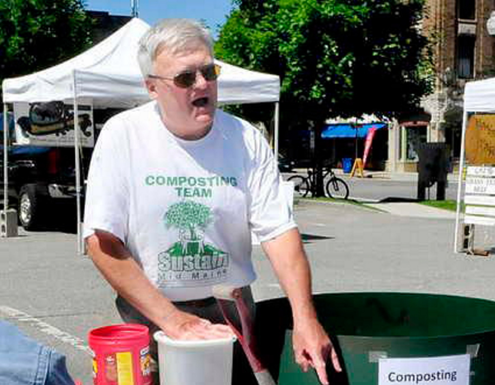 Belgrade's Geoff Hill, seen here at a composting workshop in 2014, has been named the Lifetime Achievement Award winner by the Maine Resource Recovery Association.