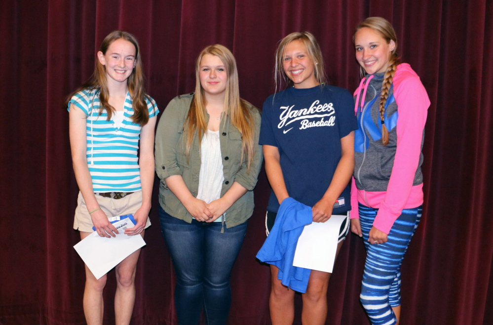 Messalonskee High School has announced its April Students of the Month. They are freshman Alyssa Turner, sophomore Lydia Dexter, junior Olivia Jewell and senior Lucy Guarnieri. These students were chosen for their academic improvement/excellence and their contribution to the Messalonskee school community. The students were nominated by MHS faculty members and chosen by the school's Culture Committee and Leadership Team, according to a news release from the high school. The students' pictures will be on display. In addition, they will receive preferential parking at the school as well as a variety of items donated by local businesses that support Messalonskee's goal of honoring excellence in the school. From left, are Guarnieri, Jewell, Dexter and Turner.