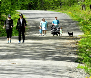 Enjoying a walk Wednesday at the Quarry Road Recreation Area in Waterville are, from left, Roxanne Pierce, Andria Mathieu, Ashley Fisher, John Notarpippo and children Damen and Abigail.