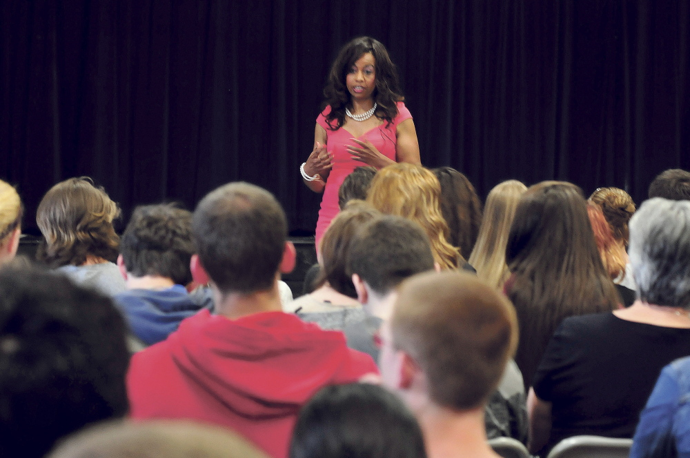 Global Forum speaker Yvonne Davis addresses students Wednesday at Erskine Academy in South China.