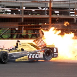 James Hinchcliffe hits the wall in the third turn during practice for the Indianapolis 500 last week. Safety issues are still a concern heading into the race.