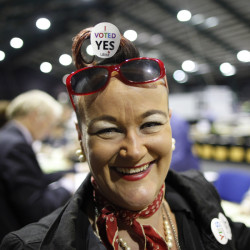 Tally counter Rhonda Donaghy is seen at the RDS count centre, Dublin, Ireland, Saturday.