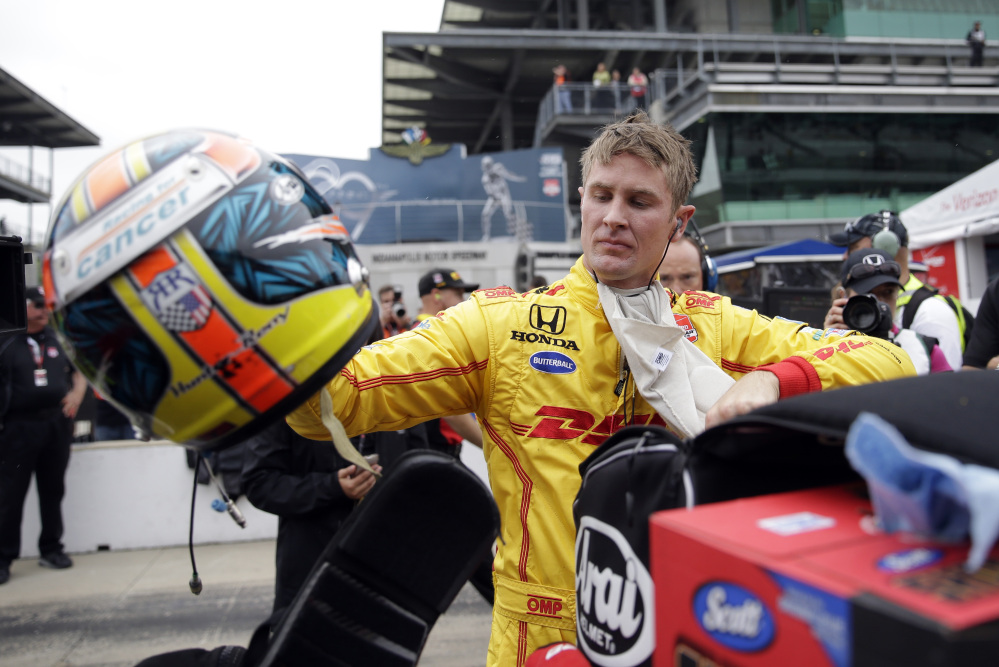 Ryan Hunter-Reay removes his helmet after he qualified for the Indianapolis 500 last week at Indianapolis Motor Speedway.