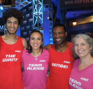 "The Alexis family traveled to Orlando, Fla., earlier this month to watch Jonathan Alexis, left, and his father, also Jonathan Alexis, second from right, compete in the ""American Ninja Warrior"" competition. The competition will be aired on NBC starting Monday at 8 p.m. Also shown are Asia Alexis, second from left, and Debbie Michaud-Alexis."