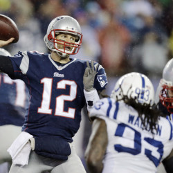 In this Jan. 18, 2015, file photo, New England Patriots quarterback Tom Brady (12)  passes against the Indianapolis Colts during the second half of the NFL football AFC Championship game in Foxborough, Mass.