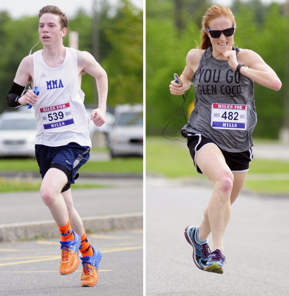 Kyle Huston, of Washburn, left, was first male finisher and Haley Morrill, of Boston, was first female finisher in the 4th annual Miles for Mills 5k on Monday at Cony High School in Augusta. Proceeds from the event will benefit the Travis Mills Foundation, a nonprofit organization formed to benefit and assist wounded and injured veterans. Retired U.S. Army Staff Sergeant Travis Mills, of the 82nd Airborne, lost portions of both arms and legs from an IED while on active duty in Afghanistan and now lives in Manchester.